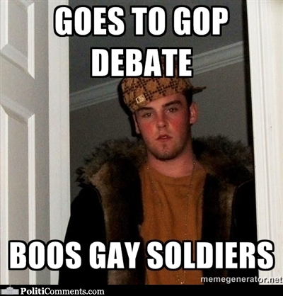 GOPers Boo Gay Soldiers. Post on Tumblr. Goes to GOP debate, ...