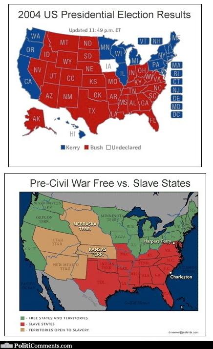 Presidential Election Vs PreCivil War Free Vs Slave States - Map of us slave states